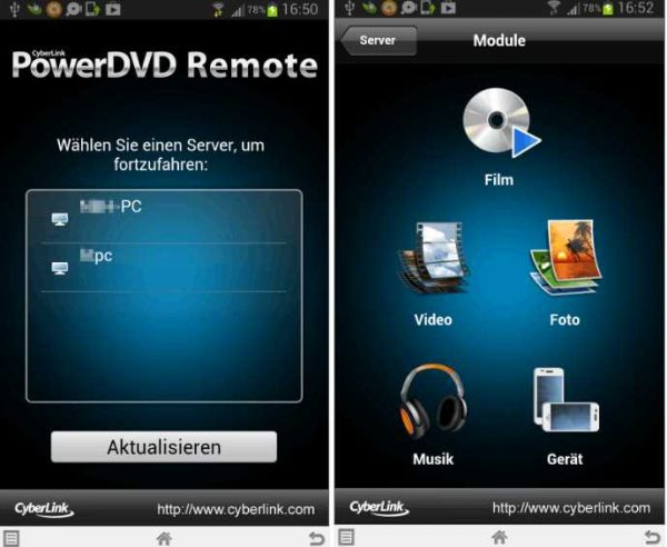 PowerDVD Remote, Server
