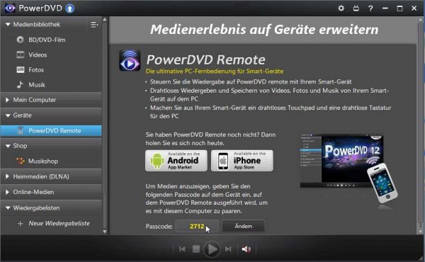 PowerDVD Remote Passcode