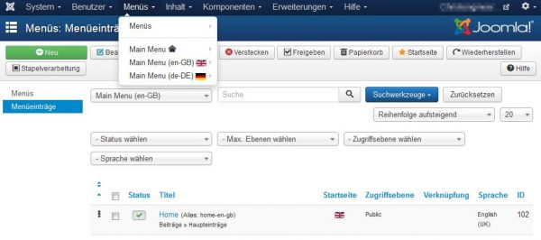 Backend der multilingualen Webseite