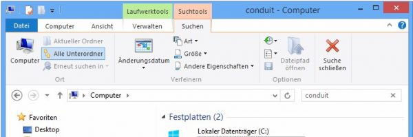 "Windows Explorer: Suche nach ""Conduit"""