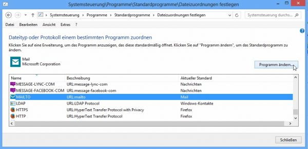 WindoWindow 8, Standardprogramm für MAILTO einstellen