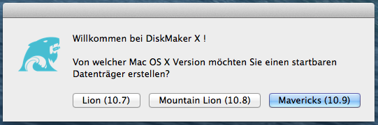 Mac OS X Version: Lion (10.7), Mountain Lion (10.8) oder Mavericks (10.9)