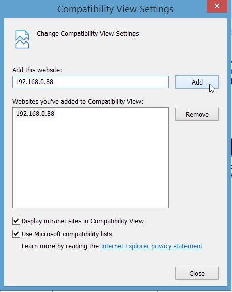 Microsoft Internet Explorer Compatibility View SettingsMicrosoft Internet Explorer Compatibility View Settings