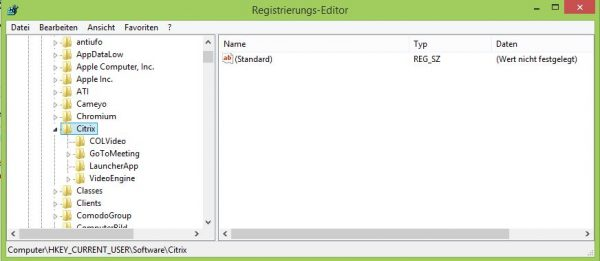 Citrix Registrierungs-Editor