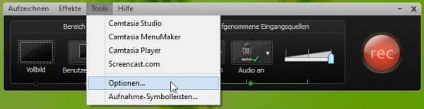 Camtasia-Recorder-Tools-Optionen