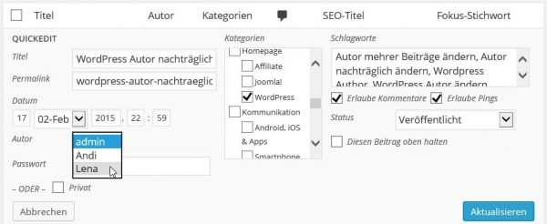 WordPress Autor ändern mit QuickEdit Methode