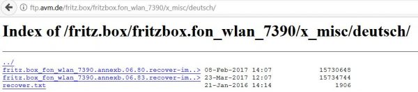 FritzBox: Firmware zum FTP-Download