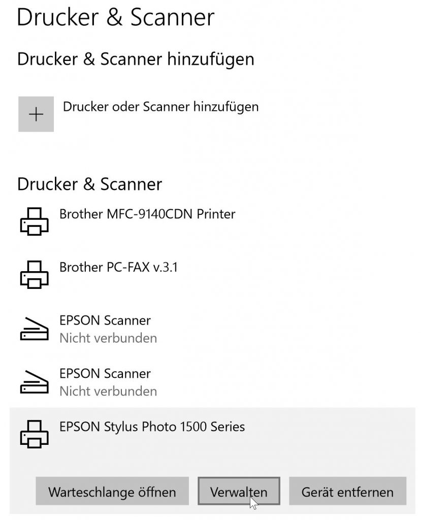 Windows Drucker & Scanner Systemeinstellungen