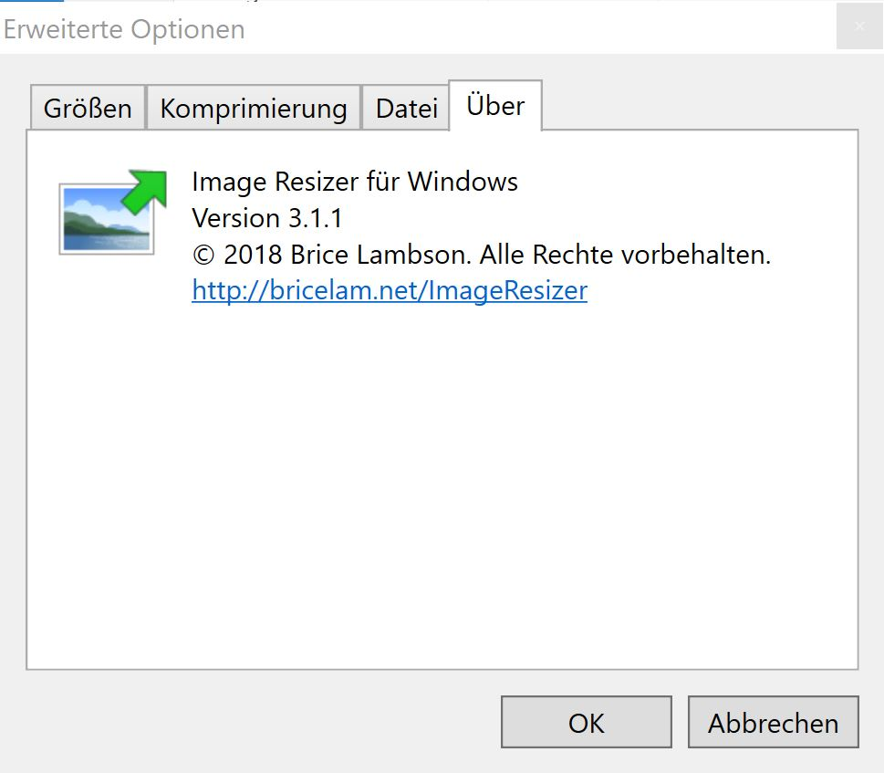 Image Resizer: Softwareentwickler und installierte Version
