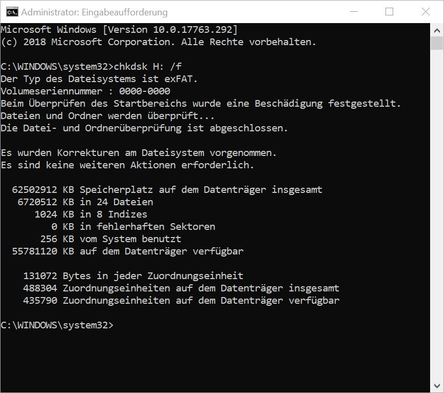 Windows chkdsk SD-Card Dateisystem wiederherstellen