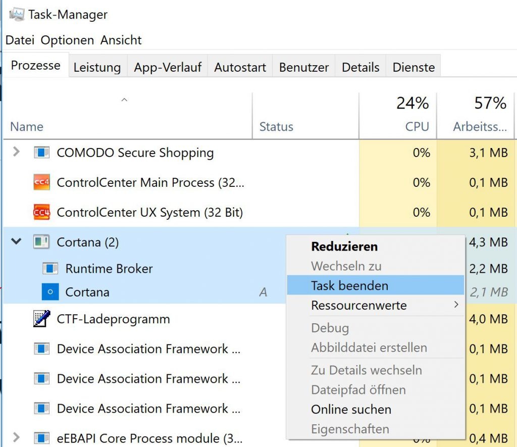 Windows Cortana im Taskmanager beenden