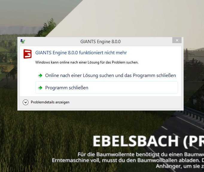 Farming Simulator 19 Giants Engine 8.0.0 funktioniert nicht mehr Ebelsbach