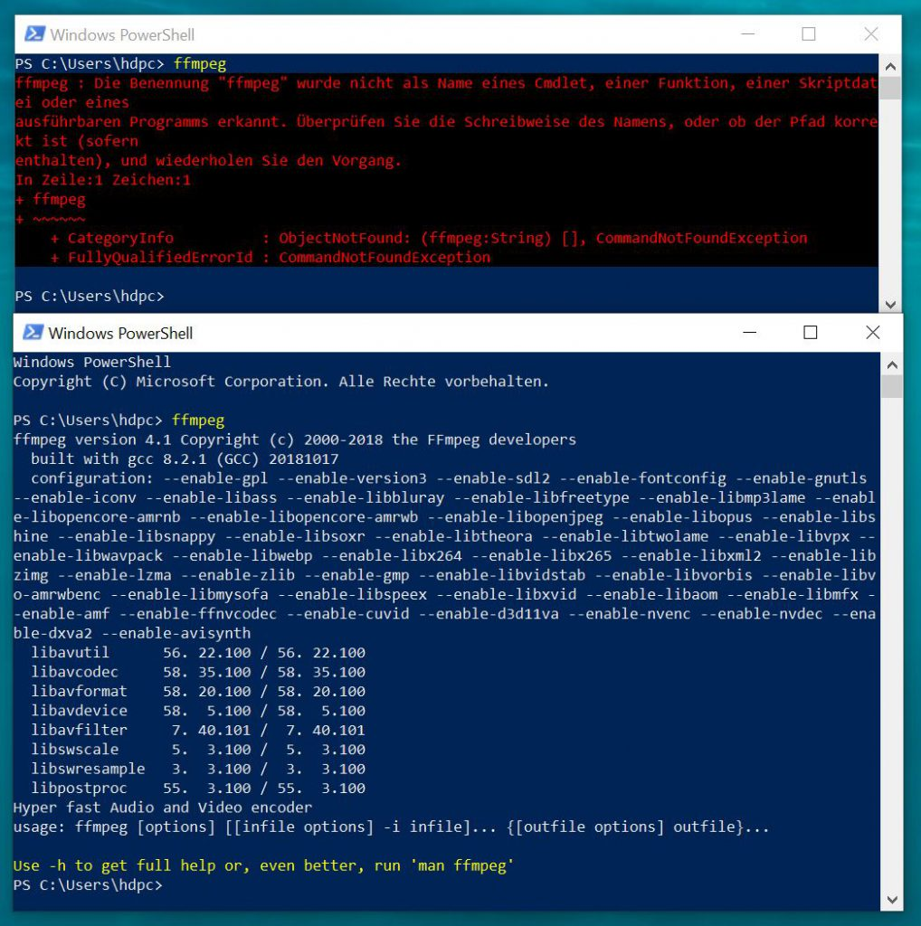 Windows PowerShell ffmpeg test vorher nachher